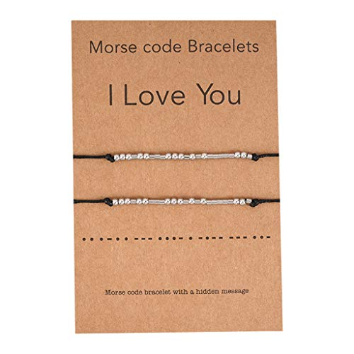 YU-HELLO_2Pcs I Love You Morse Code Beaded Bracelet with Secret Message Lover Jewelry