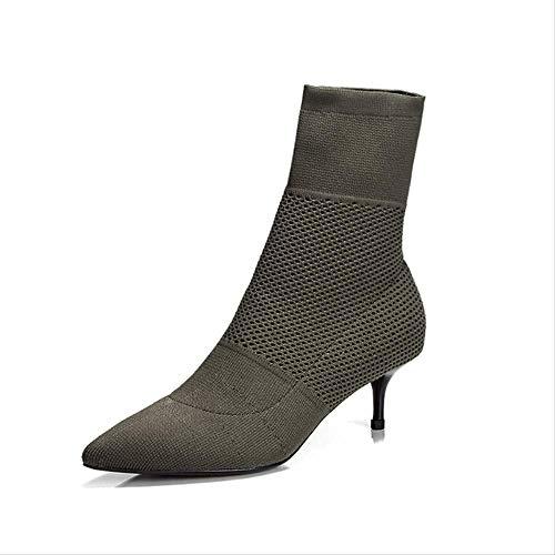 SHZSMHD Herfst Enkel Elastische Sok Laarzen Chunky Hoge Hakken Stretch Vrouwen Herfst Laarzen Punt Teen Vrouwen Schoenen