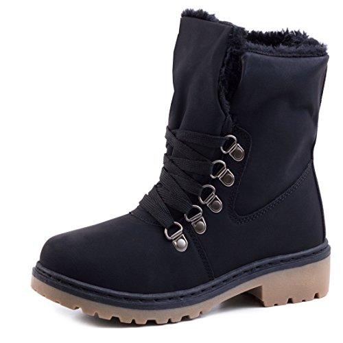 Damen Winter Schnür Boots Schuhe Stiefel mit Kunstfell in Lederoptik warm gefüttert Schwarz 39