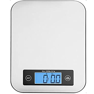 Keemo Digital Kitchen Food Scale, Small Cooking Scale with Stainless Steel Panel, Fast Unit Switching Kitchen Weighing Scale, Holds Up to 11 Ibs/5 Kg (Silver)