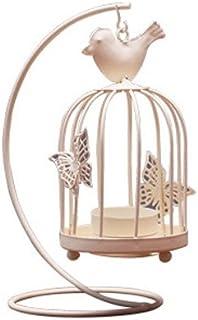 Aikesi Candelabro romántico en Forma de Jaula de Metal Candelabros de luz de la Vela Linterna de la Boda de Mesa de Navidad Adornos de decoración del hogar