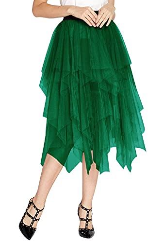 Women's Elegant Mesh Layered Tulle Skirt Sheer Tutu Skirt Midi Dress (M, Dark Green)