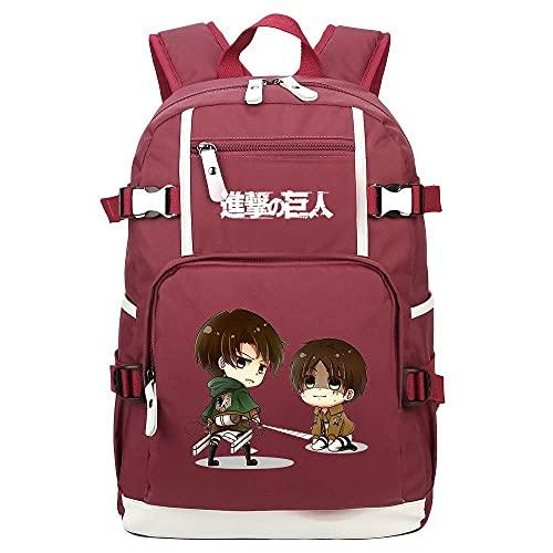ZXXFR Mochila bolsos Anime Attack on Titan Mochila para estudiantes juveniles rojo vino senderismo portatil ordenador instituto escolares juveniles bolso