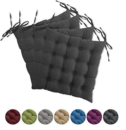 wometo 4er Set Sitzkissen Stuhl OekoTex 40x40 cm - dunkelgrau Sitzauflage Auflage Polster Stuhlkissen Sitzpolster mit Bändern