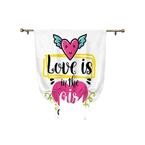 Cortina romana con frase 'Love is in the Air' con texto en inglés 'Love is in the Air' con alas de estilo retro, con aislamiento térmico, 81 x 107 cm, para ventanas del hogar, multicolor