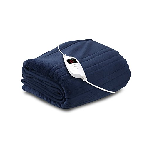 Giselle Bedding Electric Heated Throw Rug Fleece Washable Snuggle Blanket Navy Blue