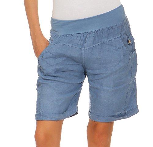 Mississhop 276 Damen Leinenshorts Bermuda lockere Kurze Hose Freizeithose 100% Leinen Shorts Elegante Haremshose mit Knöpfen Sommer Strand Jeansblau M