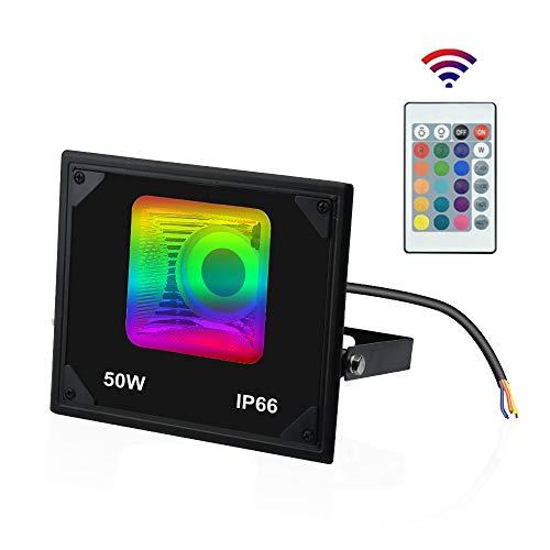Luxvista 50W Foco Reflector RGB LED Proyector Colorido de 16 Colores Control Remoto con Mando a distancia Impermeable IP66 Luz de inundación al Aire Libre Exterior Floodlight para Patio/Navidad/Fiesta
