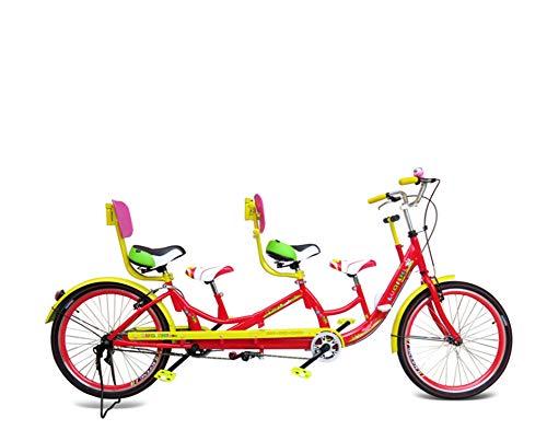 MAQRLT Padre-Hijo Tandem Bicicletas, Bicicletas tándem, Parejas Montar en Bicicleta de Cuatro Asientos del Coche con niños Antes y Familiar en Bicicleta