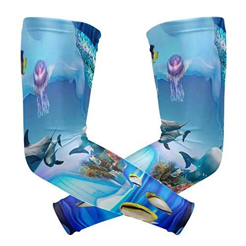 DEZIRO Dolfijn Pinguïn Jelly Aquarium Koeling Arm Mouwen Oversleeve Sunblock voor Mannen Vrouwen Jeugd