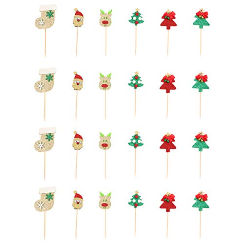 EXCEART 24Pcs Christmas Cupcake Toppers Fruit Picks Santa Tree Sock Deer Bell Cake Toppers Decoration Dessert Picks Cake Ornament for Party Xmas