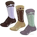 Wrangler Womens Western Cowgirl Crew Boot Socks 3 Pair Pack (Assorted 1, Women's Shoe Size 6-9 - Sock Size Medium)
