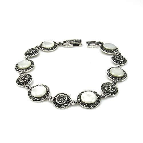 Minoplata Pulsera de Plata Vieja círculos Decorados con Nácar y Marcasitas una Joya de Estilo Vintage Ideal para Mujeres Que adoran los diseños Que se heredan