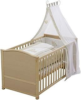 "roba Komplettbett Set ""Liebhab Bär"", Babybett natur inkl. Bettwäsche, Himmel, Nest, Matratze, Kombi Kinderbett 70x140cm umbaubar zum Junior Bett"