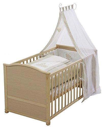 roba Lit bébé avec textiles 'Lovely Bear', lit bébé en bois naturel, avec linge de lit, ciel de lit, tour de lit et matelas, lit bébé combiné 70x140cm, transformable en lit enfant