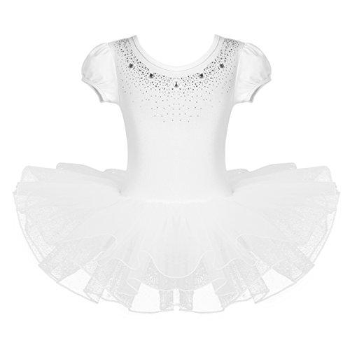 IEFIEL Vestido Tutú de Princesa para Niña Vestido de Danza Ballet Manga Corta Disfraz de Bailarina Elástica con Braguita Interior Maillot Gimnástico Traje de Patinaje Blanco A 5-6 años