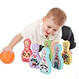 Fine Children's Foam Bowling Pins Indoor Toys,Bowling Set,Outdoor Toys for Toddlers, Bowling Game for Kids with Light Music (B)