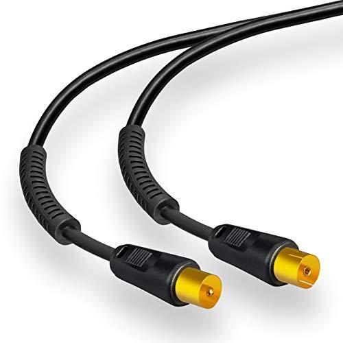 2m HB-DIGITAL HDTV Antennenkabel Anschlusskabel Koax Stecker auf Buchse vergoldet Koaxialkabel mit Mantelstromfilter mit 2X Ferritkern Schwarz