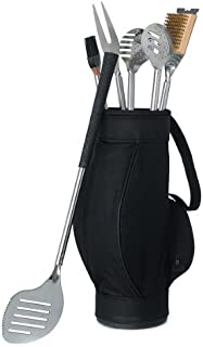 5 Piece BBQ Tool Set in Black Golf Bag with Golf Grips Wedding Gift