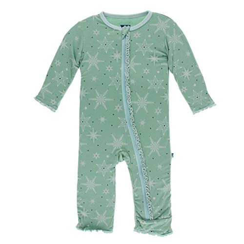 KicKee Pants Print Muffin Ruffle Coverall with Zipper (4T, Shore Snowflakes)