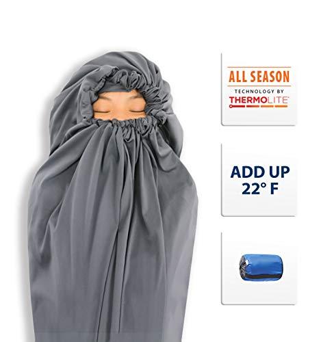 Litume Thermolite All Season Sleeping Bag Liner Add Up to 22F, Mummy Sleeping Sack Backpacking, Camping, Traveling, Lightweight Sleep Sack with Drawstring Hood (E626)