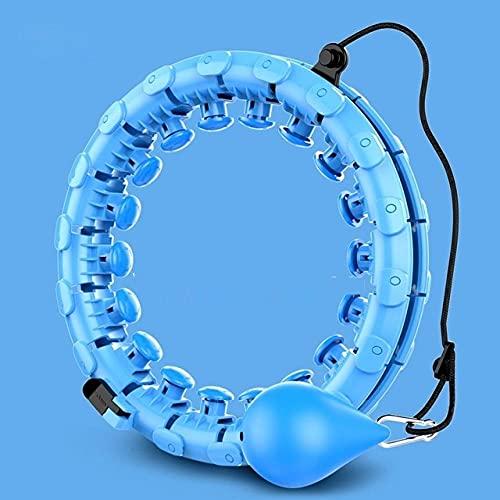 Peso del Aro del Hula Smart Counting Sport Hoop Entrenamiento En Casa Equipo De Fitness Desmontable Ajustable Auto-Spinning Circle Yoga Ejercitador De Cintura Delgada-24 Azul