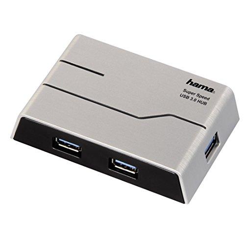 Hama 4-Port USB 3.0-Hub (Mit Netzteil und USB-Kabel, Kompatibel auch mit Windows 10) silber/schwarz