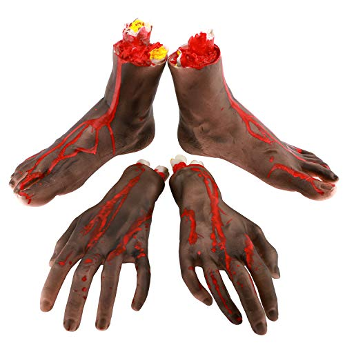 Zooawa Halloween Hands and Feet Set ,[4 Pieces] Vivid Terror...