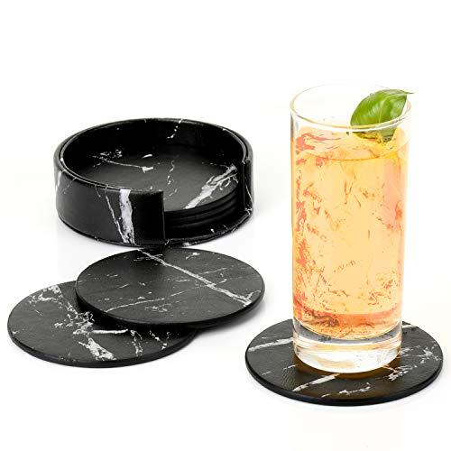Premium Leder Glasuntersetzer mit Halter 6-er Set Tassenuntersetzer Geschäftsuntersetzer für Bar Büro Zuhause Marmor (Schwarz)