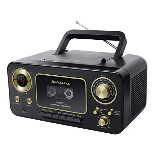 Studebaker SB2135BG Portable Stereo CD Player with AM/FM Radio and Cassette Player/Recorder (Black Gold)