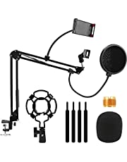 infinitoo Microphone Stand, Adjustable Suspension Boom Scissor Mic Stand for Recording Equipment with Shock Mount, Mic Clip Holder, Pop Filter, 3/8'' to 5/8'' Adapter, Table Clamp, Mic Cap, Cable Ties