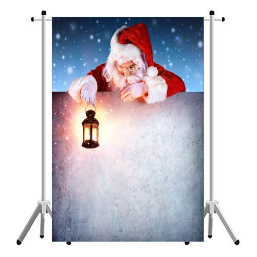 Aperture 3x5ft Christmas Santa Claus Backdrop, White Wall Snowflake Xmas Photography Background Kids Portrait Photo Studio Booth Photobooth Photographer Props Party Decoration