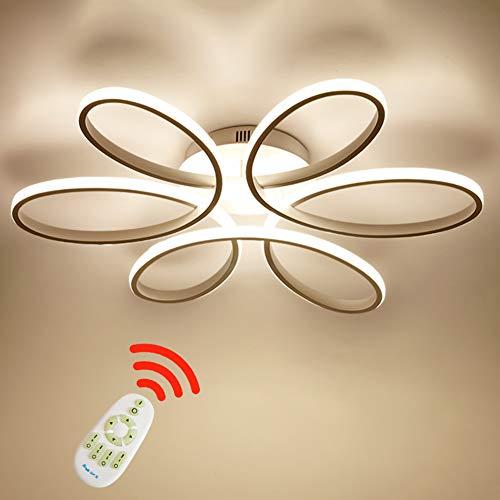 LED 85W Deckenleuchte Kreative Blume-Shape Deckenlamp Acryl Aluminium Lampenschirm Moderne Elegante Matt Weiß Deckenleuchte Wohnzimmer Schlafzimmer Kinderzimmer L59cm * H11cm, Dimmbar 3000K~6000K