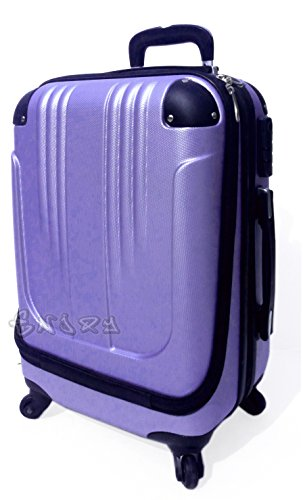 Bagaglio a mano trolley voli low cost in abs rigido 4 ruote + asta estensibile -loco by crazy shoes (Viola)