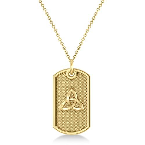 Allurez Celtic Knot Dog Tag Pendant Necklace 14k Yellow Gold