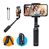 FeiyuTech Official Vimble ONE Foldable Extendable 1-Axis Stabilizer Selfie Stick Tripod Compatible with iPhone 11 Pro MAX XR Smartphone, Bluetooth Wireless Control Phone Camera