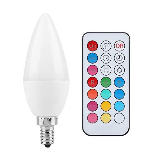 Yosoo- Bombilla de Vela RGB de 2 Piezas, 3W Smart E27 E14 E12 B22 Base de candelabro Opcional Bombilla LED Control Remoto Cambio de...