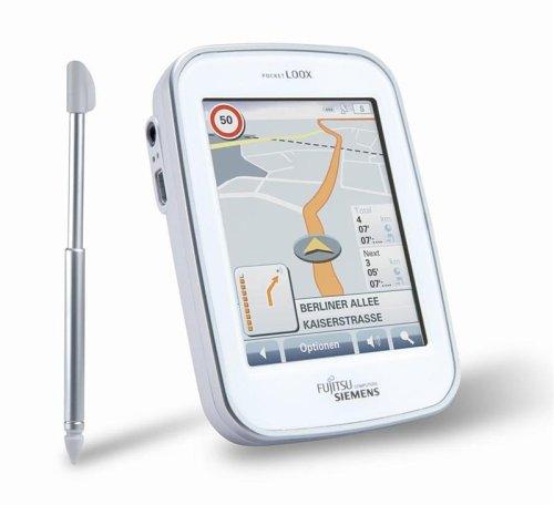 Fujitsu Siemens Pocket Loox N100 PNA Navigationssystem inklusive TMC Modul (Verkehrsinformation) + Navigon Mobile Navigator 6 Kartenmaterial auf DVD und Deutschlandkarte auf 512 MB Mini SD Karte