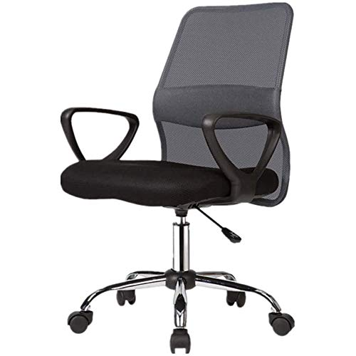 LJJSMG Office Chair Boss Chair Computer Chair Mass Cloth Backrest Computer Chair Household Work Computer Chair Staff Lifting Seat - with Lumbar Support (Color : Gray)