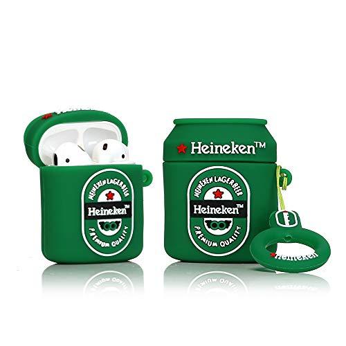 YIGEYI Silikon Hülle Kompatibel mit Airpods 1 und 2 Funny Cute 3D Cartoon Hülle Cover[Bierdosen Trinken Serie ] (Heineken Bier)