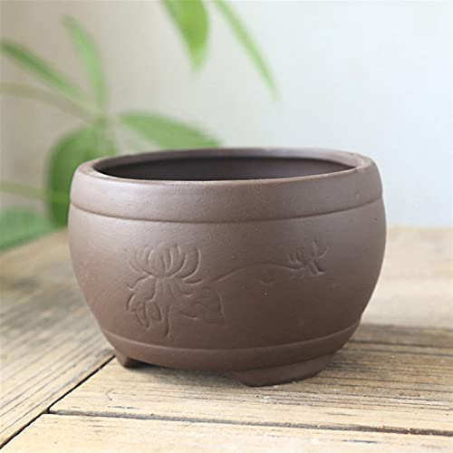 yywl Maceteros Black Ceramic Terren Burn Craft Craft Flowerpot Plum Orchid Bamboo Chrysanthemum Suculento Pot Pot Transpirable Decoración (Farbe : 10x6.5cm)