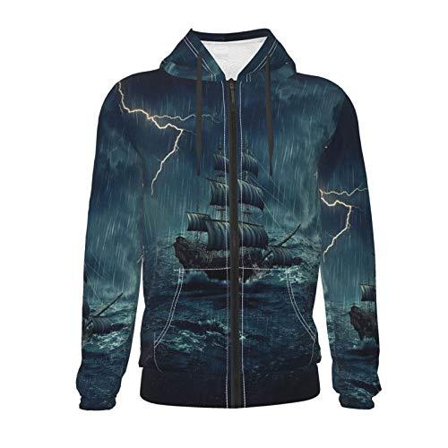 Inaayayi Stormy Rainy Waves Vintage Ship Sailing 3D - Sudadera unisex con capucha y bolsillos con cremallera