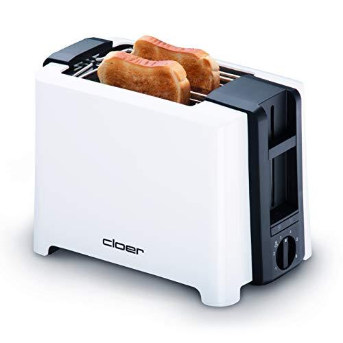Cloer 3531 Full-Size 2 XXL Toastscheiben, 750-900 Watt, Toast-Check-Funktion, Brötchenaufsatz, Auftaufunktion, Nachhebevorrichtung, weiß, Kunststoff
