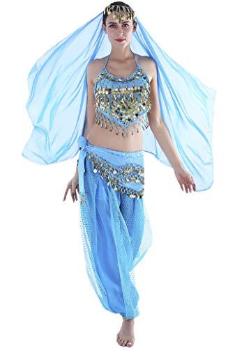 Seawhisper Traje de Danza del Vientre Disfraz Halloween Carnaval Conjunto de Velo + Cadena de Cabeza + Top + Bufanda de Cadera + Pantalones