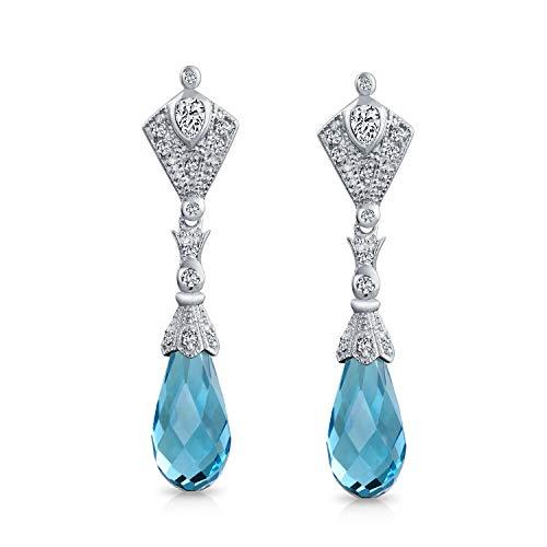 Antiguo Aqua Deco Azul Facetados Briolette Lágrimas Zirconio Cúbico CZ Candelabro Pendiente De Plata Esterlina Mujer