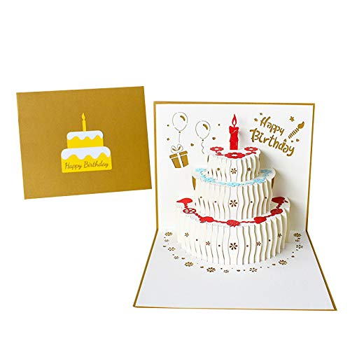 Pop Up Birthday Cake Card, onehous 3D Greeting Card with Envelope, Happy...