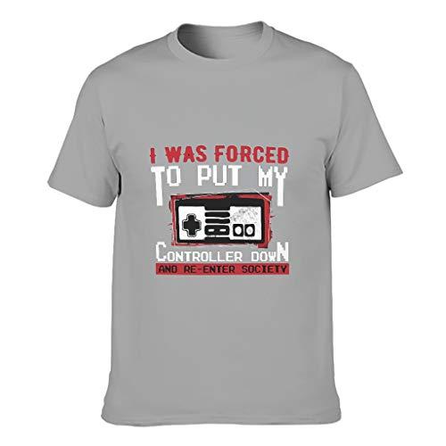 Baumwoll T-Shirt Setzen Sie den Controller ab Erwachsene Wesentlich Kurzarm Oberteil Gray 4XL