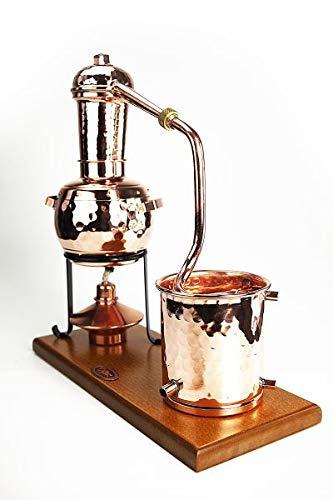 CopperGarden Kupfer Destille Arabia 0,5 Liter I Stabile Tischdestille mit Aromasieb & Spiritusbrenner im Miniformat I Legales Destilliergerät für ätherische Öle/Hydrolate/Düfte/Wasser etc.