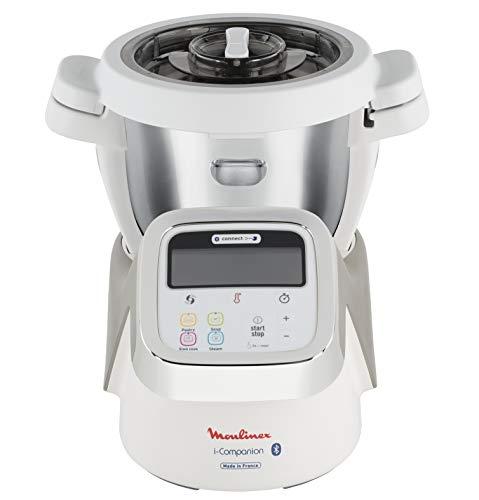 Moulinex i-Companion HF900110 - Robot de cocina Bluetooth 13 programas y 6 accesorios, capacidad 6 personas, incluye cuchilla picadora, batidor, mezclador, amasador, triturador y cesta de vapor