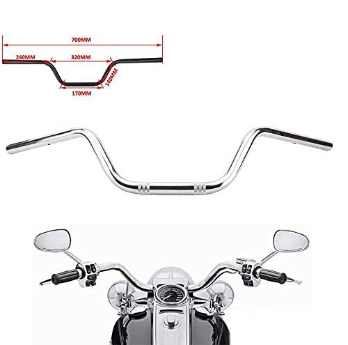 """Motorrad 7/8 \""""Drag-Lenker High-Rise-Tracker-Lenker Universal für Harley Sportster XL 883 1200 Cruiser Bobber Custom-Zerhacker Softail Dyna Tour Glide Road CG125, Chrom"""